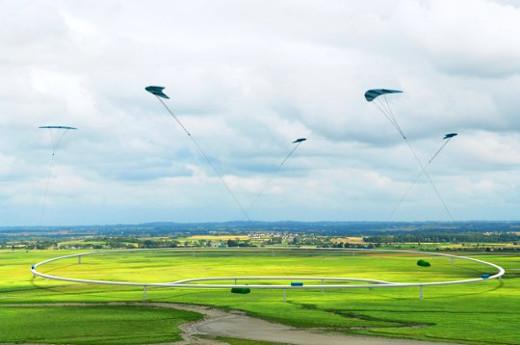 Höhenwindkraftwerke, mit großen Energiedrachen © Bild NTS Energie- und Transportsysteme