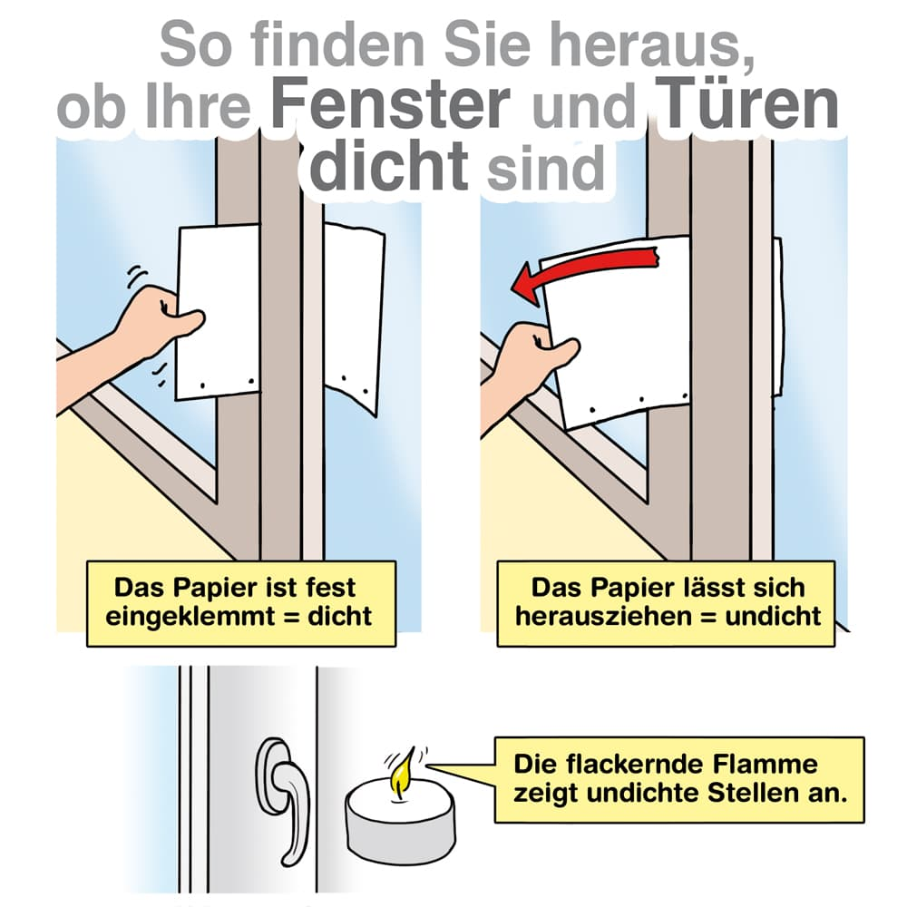So finden Sie heraus ob Ihre Fenster und Türen dicht sind