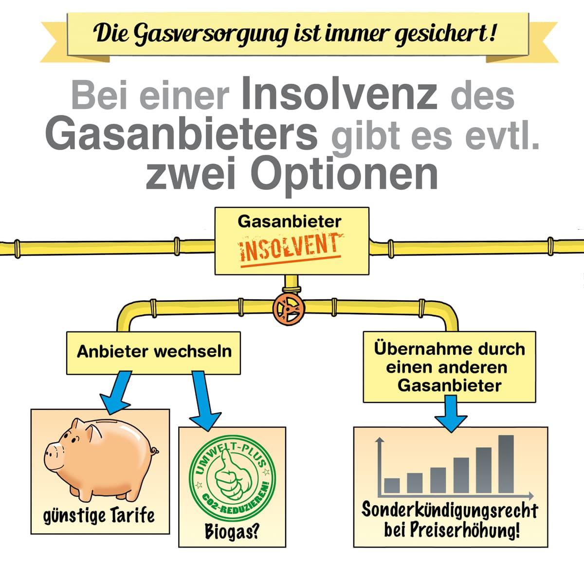 Bei einer Insolvenz des gasanbieters gibt es evtl. zwei Optionen
