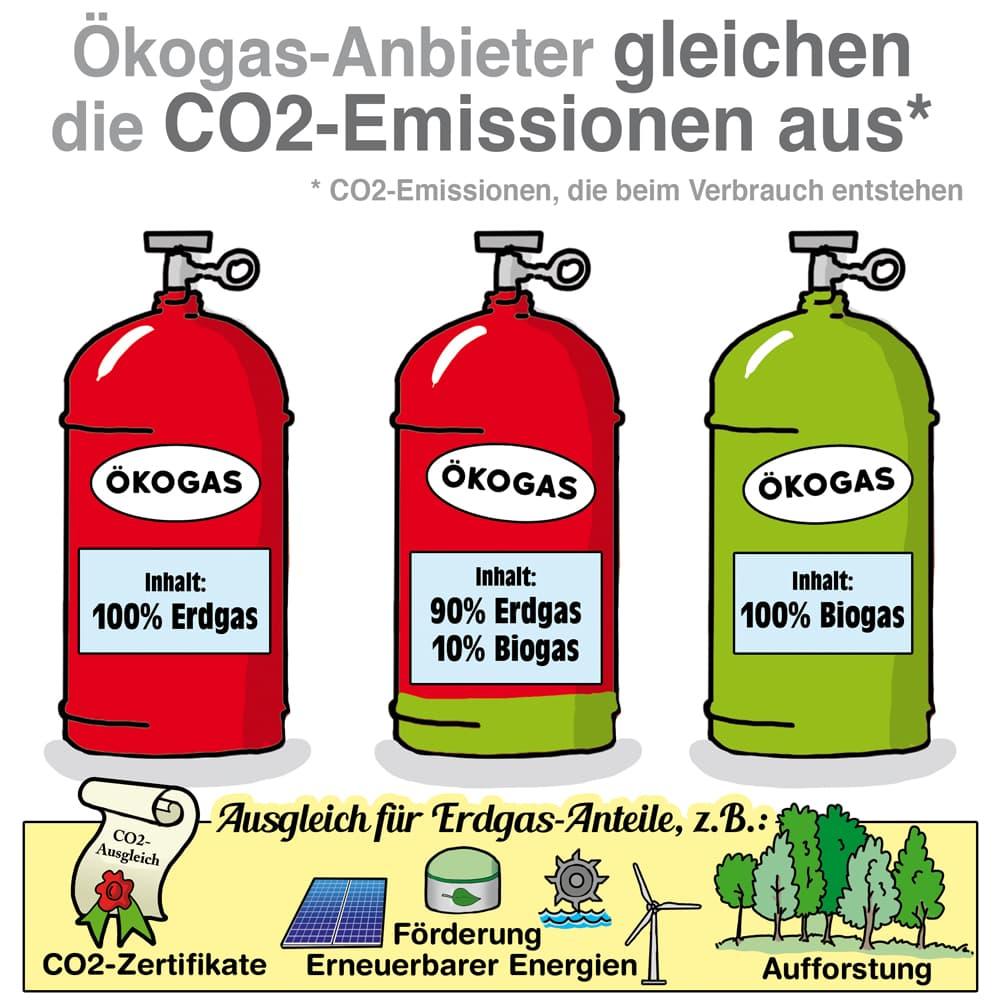 Ökogas Anbieter gleichen CO2-Emmissionen aus