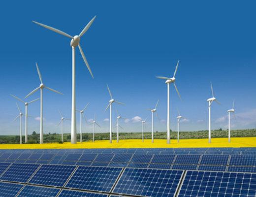 Ökostrom aus Windkraft und Solaranlagen © visdia, fotolia.com