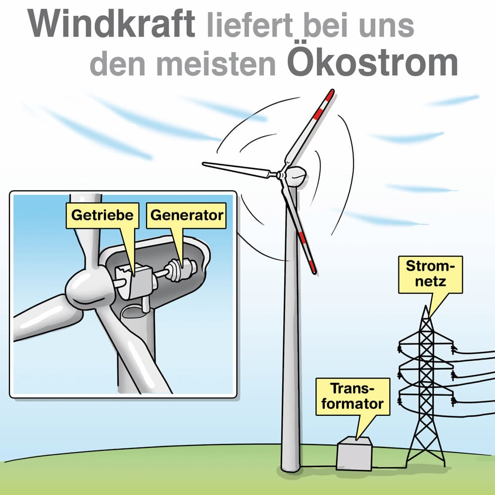 Windkraft liefert bei uns den meisten Ökostrom